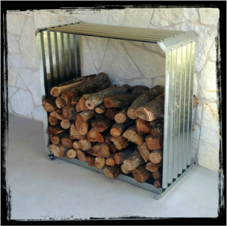 galvanized firewood rack