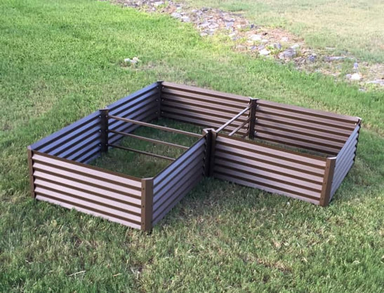 rustic l-shaped metal garden beds